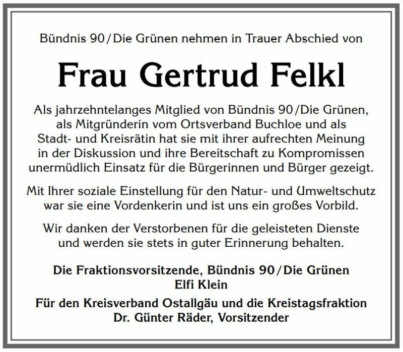 In Erinnerung an Gertrud Felkl